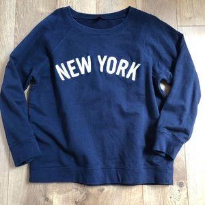J Crew Navy Blue New York Sweat Shirt XL